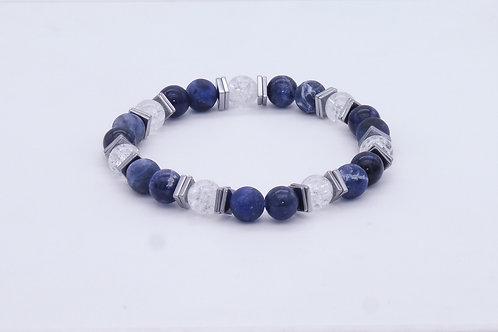 Bracelet en sodalite, cristal de roche, howlite et hématite argentée