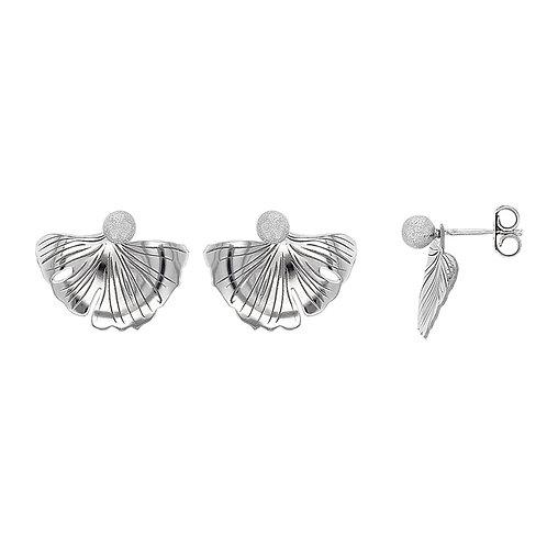 Boucle d'oreille en argent forme ginkgo