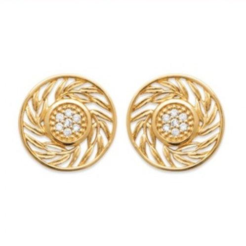 Boucles d'oreilles plaqué or ronde avec oxyde de zirconium