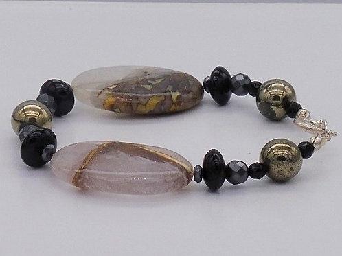 Bracelet en agate, pyrite, onix et hématite