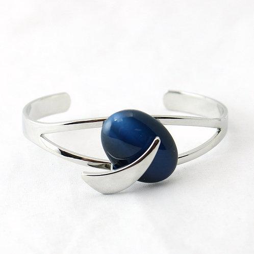 Bracelet Jonc Ouvert Bleu Foncé