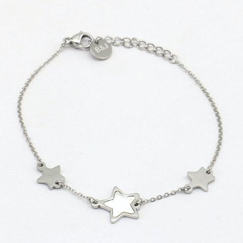 Bracelet en acier motif étoiles