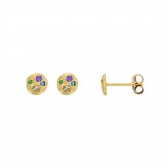 Boucle d'oreille en argent doré et oxyde de zirconium teinté