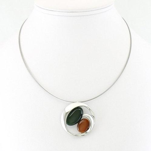 Collier avec Pendentif Rond Bicolore Vert/Brun