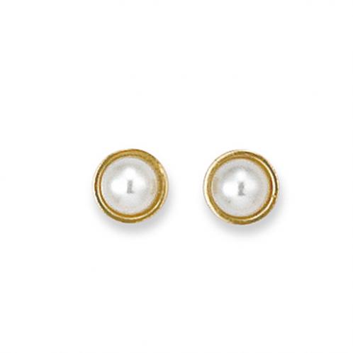 Boucles d'oreille 5mm en plaqué or et perle de majorque