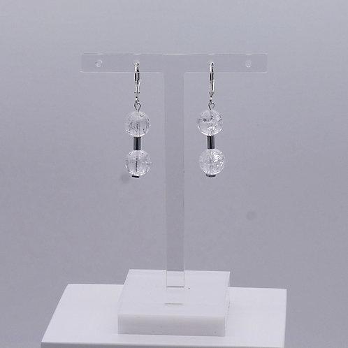 Boucle d'oreille en cristal de roche et hématite