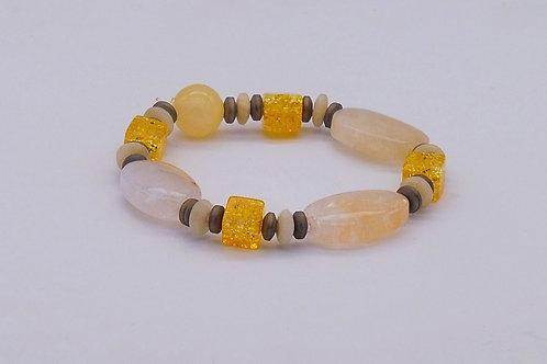 Bracelet en agate jaune, cristal de roche, calcite et hématite vieil or mat