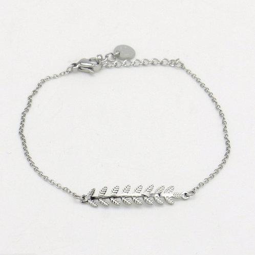 Bracelet en acier motif feuille