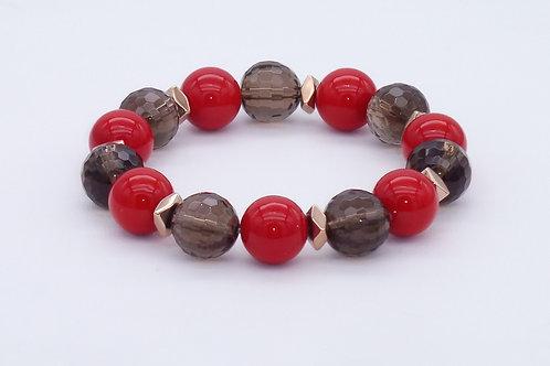 Bracelet en nacre rouge, quartz fumé et hématite cuivrée
