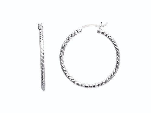 Créoles en argent 30 mm motif cordes