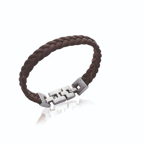Bracelet en acier et cuir tressé brun homme