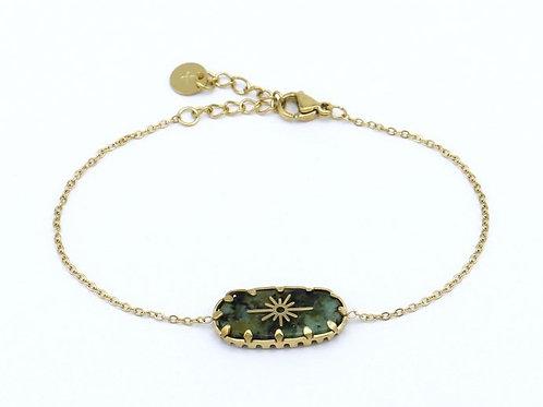 Bracelet en acier motif en pierre et étoile du nord