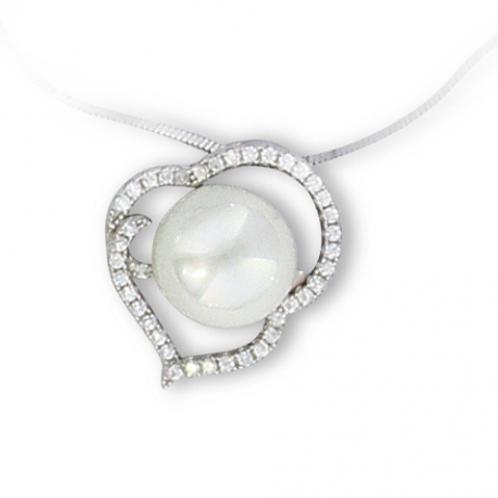 Pendentif en argent perle blanche et oxyde de zirconium