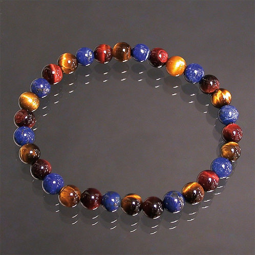 Bracelet en lapis lazuli,oeil de tigre et oeil de taureau