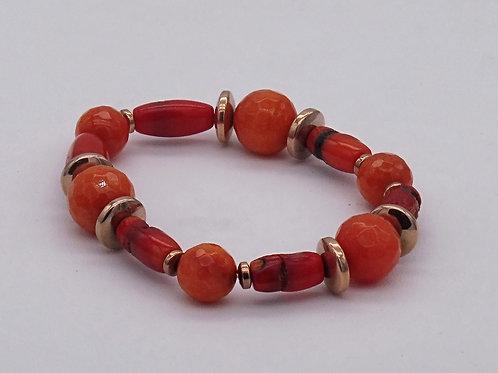Bracelet en agate orange, bambou de mer et hématite doré rose