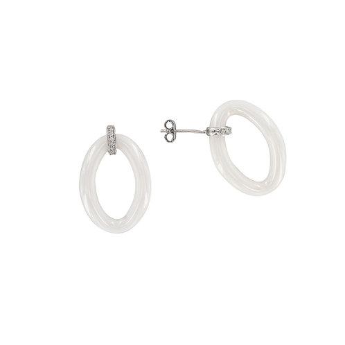 Boucle d'oreille en argent et céramique blanche