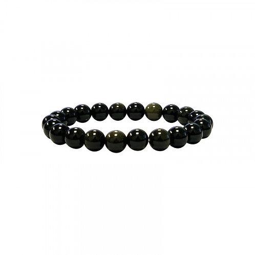 Bracelet en obsidienne dorée 8 mm