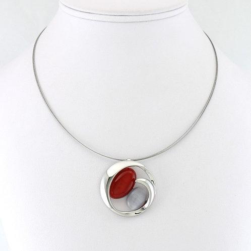 Collier avec Pendentif Rond Bicolore Rouge/Gris