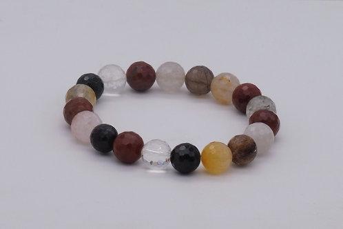 Bracelet en cristal de roche, quartz fumé, jaspe rouge et agate