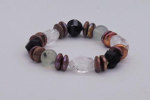 Bracelet en onix, prehnit, cristal de' roche et perle cuivrée