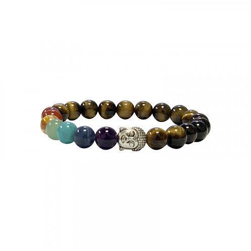 Bracelet 7 chakras oeil de tigre et boudda