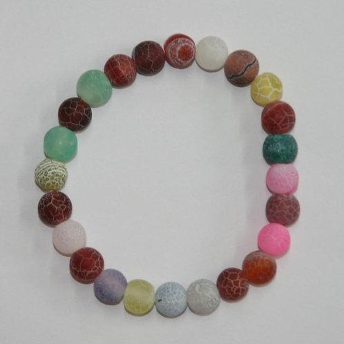 Bracelet enfant en agate mat multicolore
