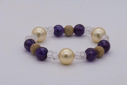 Bracelet en améthyste, cristal de roche, perle et plaqué or
