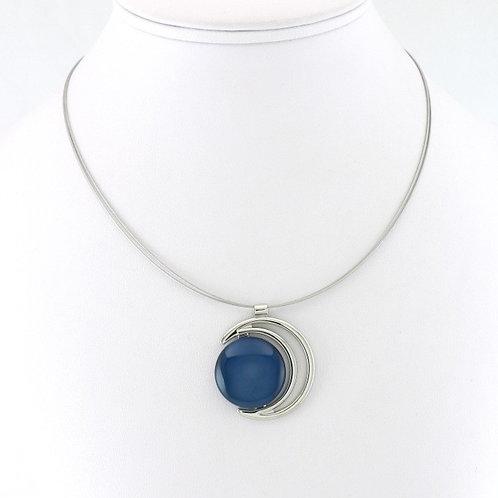 Collier avec pendentif Croissant de Lune Bleu