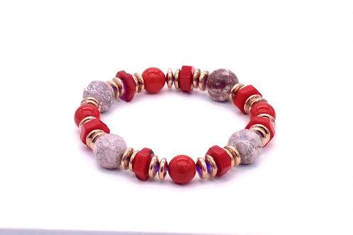 Bracelet en nacre rouge, turquoise américaine, bambou de mer et hématite