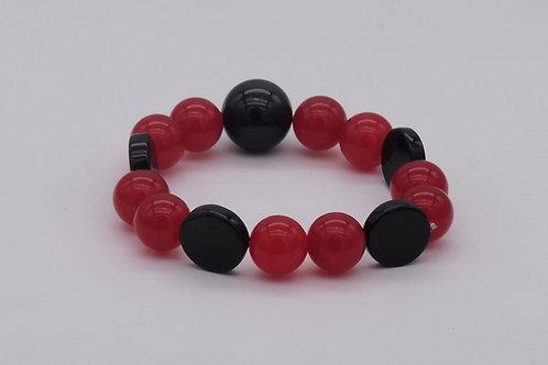 Bracelet en quartz rouge et onix