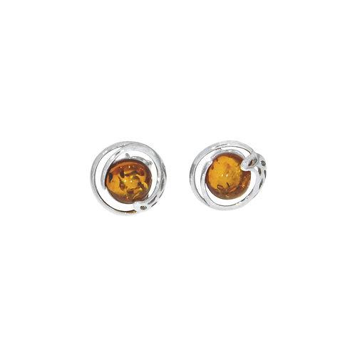 Boucle d'oreille en ambre et argent