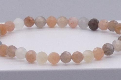 Bracelet en pierre de lune à facettes 6 mm