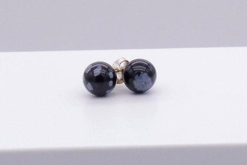 Boucle d'oreille en obsidienne mouchetée 8 mm