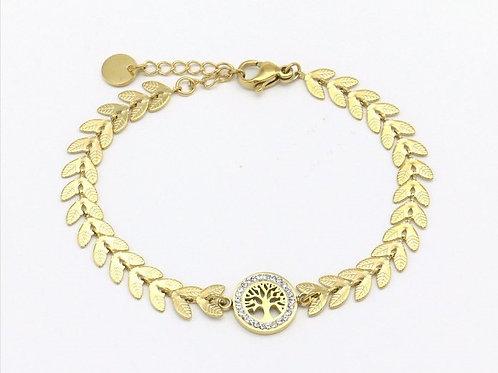 Bracelet en acier doré motif arbre