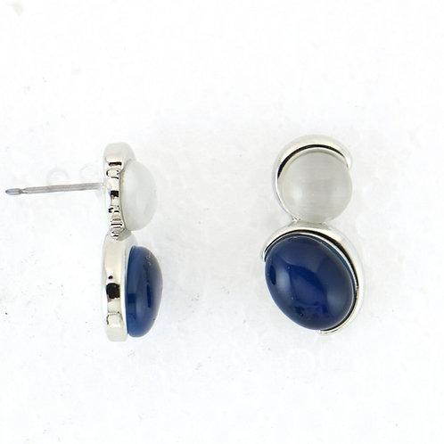 Boucles d'Oreilles Bicolores Blanc/Bleu