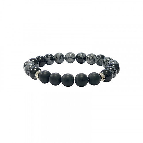 Bracelet en obsidienne et lave
