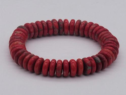 Bracelet en magnésite rouge