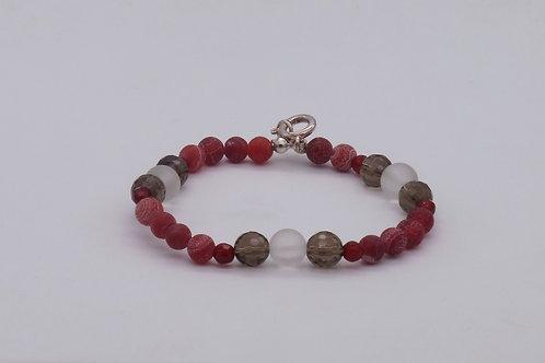 Bracelet en agate, quartz fumé et cristal de roche mat