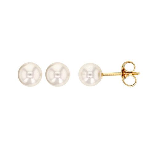 Boucles d'oreille 8 mm en plaqué or et perle de majorque