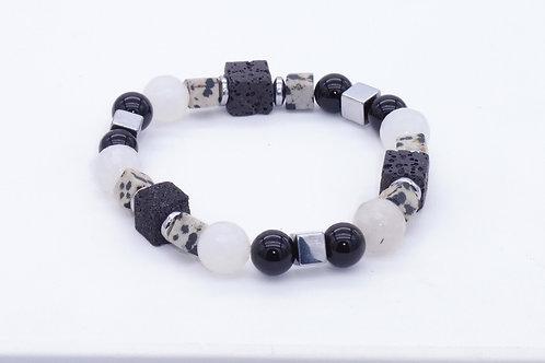 Bracelet en jaspe dalmatien, onix, lave, agate et hématite argenté