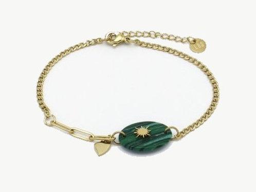 Bracelet en acier motif en pierre et étoile