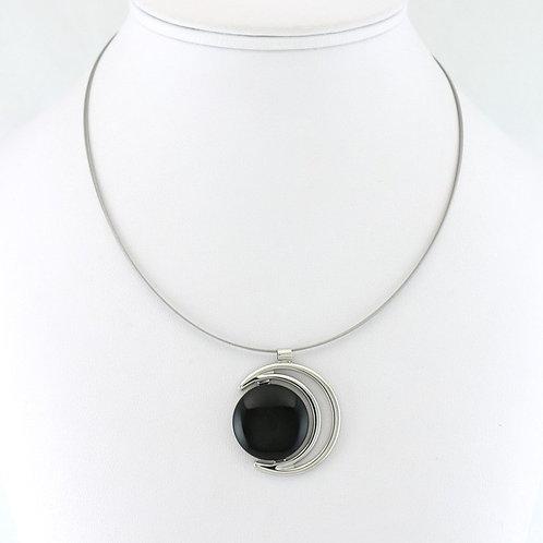 Collier avec pendentif Croissant de Lune Noir