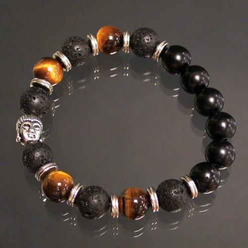 Bracelet en oeil de tigre lave et onix