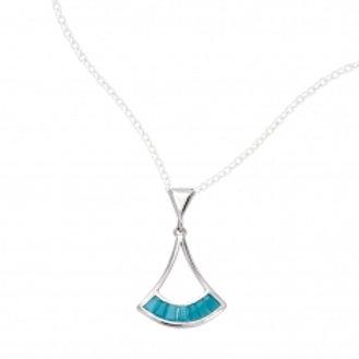 Collier en argent avec pendentif perles couleur turquoise