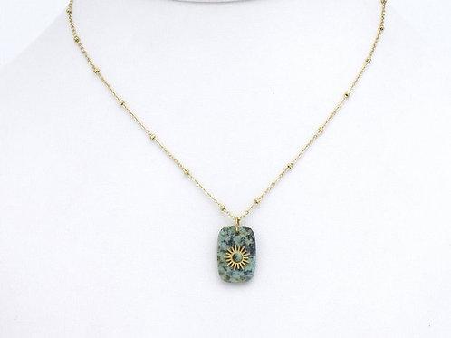 Collier en acier pendentif en pierre et motif soleil