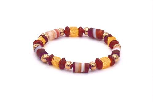 Bracelet en agate rubanée, cornaline  et hématite doré rose