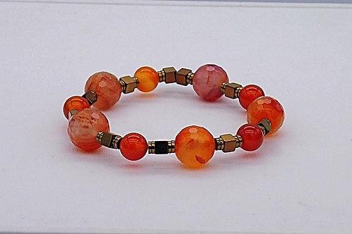 Bracelet en agate orange et hématite cuivré