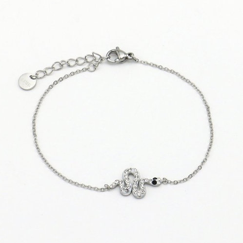 Bracelet en acier motif serpent