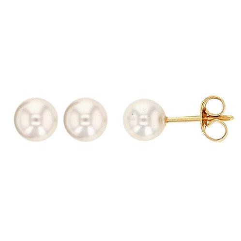 Boucles d'oreille 10 mm en plaqué or et perle de majorque