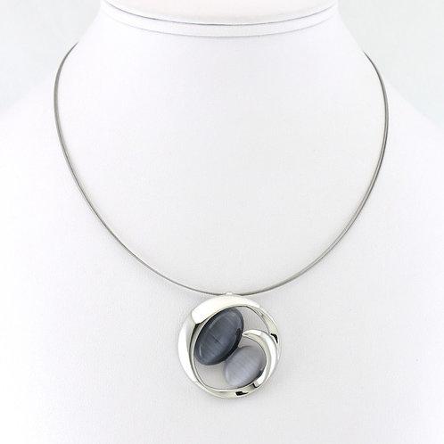 Collier avec Pendentif Rond Bicolore Gris foncé/gris clair